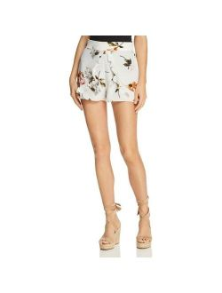 Re:named Womens White Floral Print Ruffled Belted Shorts M BHFO 9895