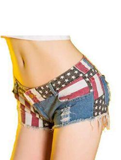 Women Ripped Denim Jean Shorts American Flag Print Mid Rise Frayed Raw Hem Short Mini Zipper Casual Summer Hot Pants