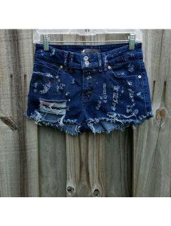 custom Levis denim shorts destroyed distress sz XS/S zombie apocalypse