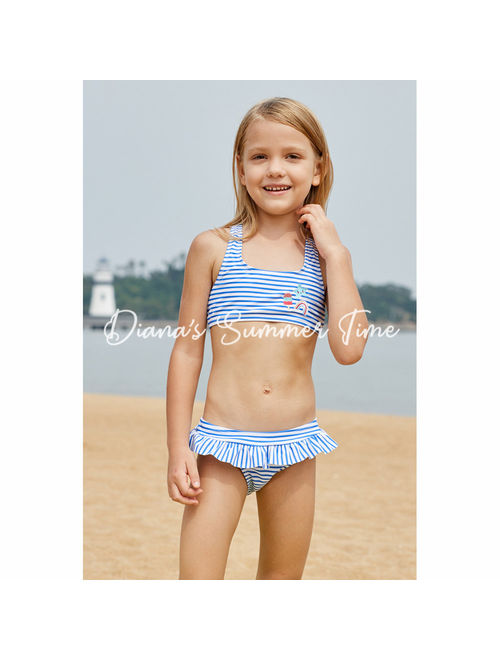 Handmade set bikini for kids children girl blue navy stripes cute good fabric material swimsuit swimwear swimming family holiday beach
