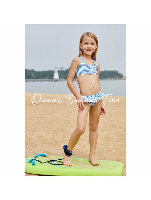 Handmade set bikini for kids children girl blue navy stripes cute good fabric material swimsuit swimwear swimming family holiday beach