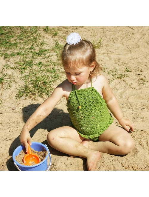 Swimsuit for baby girl, cute swimsuit for infant with ruffles, green swimsuit crochet, size 2-3 years