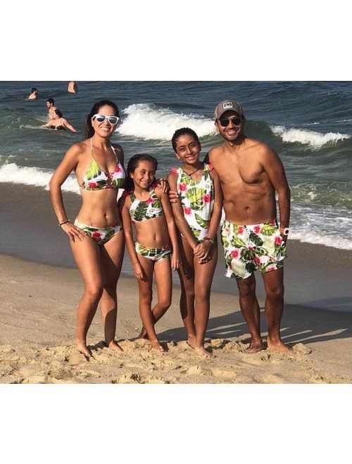 Family Matching Swimsuits, tropical flower swimwear, family matching swim outfit, tropical print matching swimwear, floral family swimwear