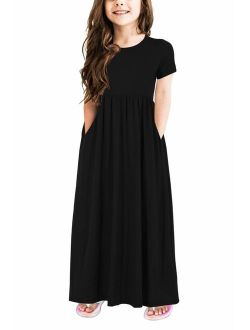 GORLYA Girl's Short Sleeve  Loose Casual Holiday Long Maxi Dress with Pockets