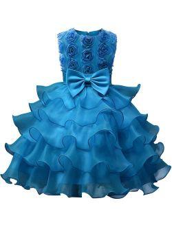 NNJXD Girl Dress Kids Ruffles Lace Party Wedding Dresses