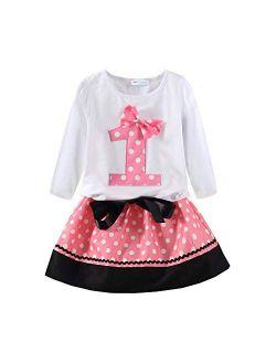 Mud Kingdom Little Girls Sweatshirts Pullover Cute Cartoon Polka Dots