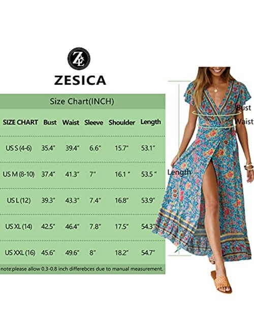 ZESICA Bohemian Floral Printed Wrap V Neck Short Sleeve High Slit Beach Party Maxi Dress