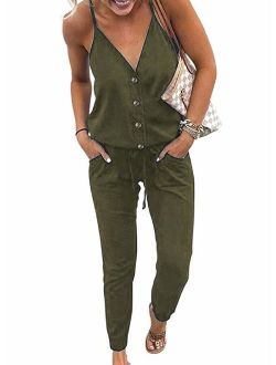 Womens Short Jumpsuit Floral Print V-Neck Buttons Short Sleeve Casual Elastic Waist with Pocket