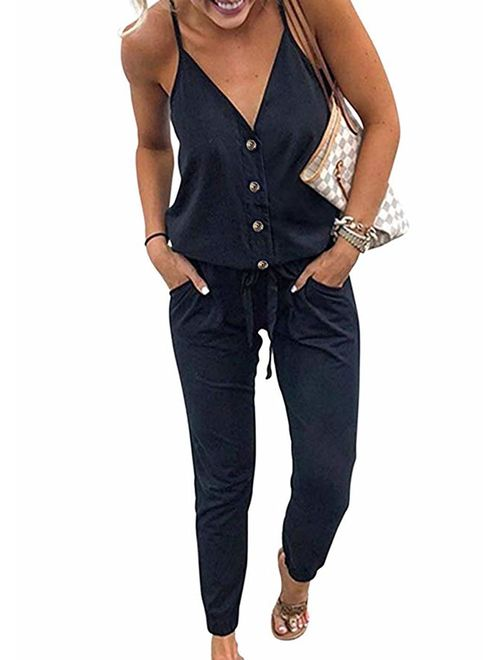 QEESMEI Women's Jumpsuits Rompers V Neck Spaghetti Strap Drawstring Elastic  Waisted Long Pants Jumpsuits | Topofstyle
