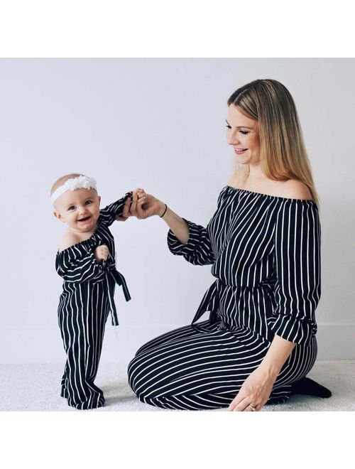 Family Matching Striped Jumpsuit Mommy&Me Off Shoulder Long Sleeve Long Pants Romper with Belt