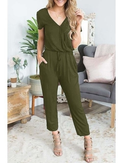 Lrady Womens Casual Off Shoulder Short Sleeve Jumpsuit Rompers with Pockets