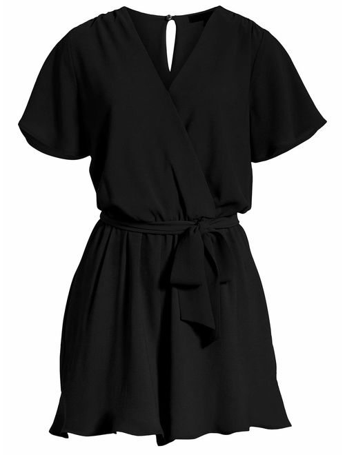 REORIA Womens Summer V Neck Ruffles Short Sleeve Belted Wrap Short Jumpsuit Rompers