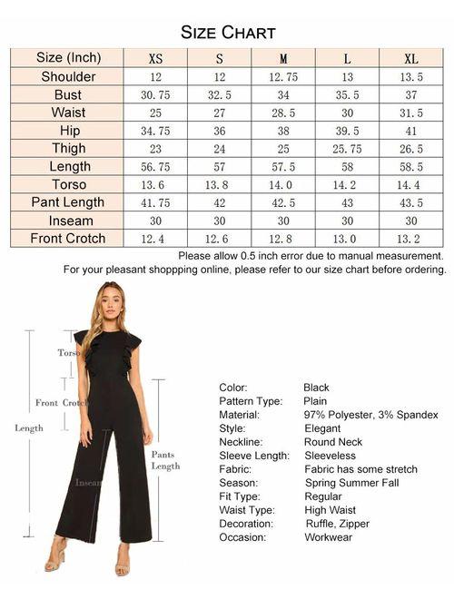 Romwe Women's Sexy Casual Sleeveless Ruffle Trim Wide Leg High Waist Long Jumpsuit
