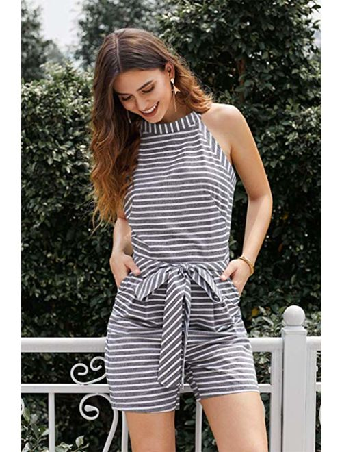 PRETTYGARDEN 2019 Women's Striped Sleeveless Waist Belted Zipper Back Wide Leg Loose Jumpsuit Romper with Pockets