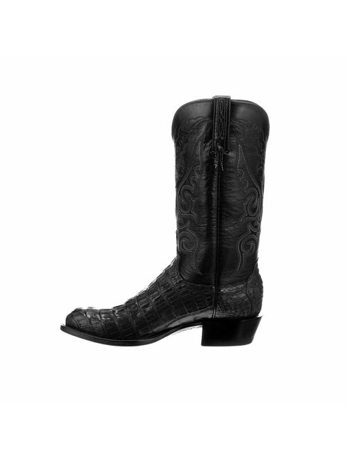 Lucchese Mens Handmade Black Hornback Caiman Crocodile Exotic Western Boots