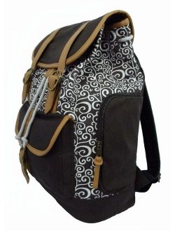 Canvas Laptop Bookbag Vintage Cotton Canvas Daypack Casual Canvas Laptop Backpack Pattern Printed College Student Canvas School Backpack Fit 15 inch Laptop MacBook Chrome