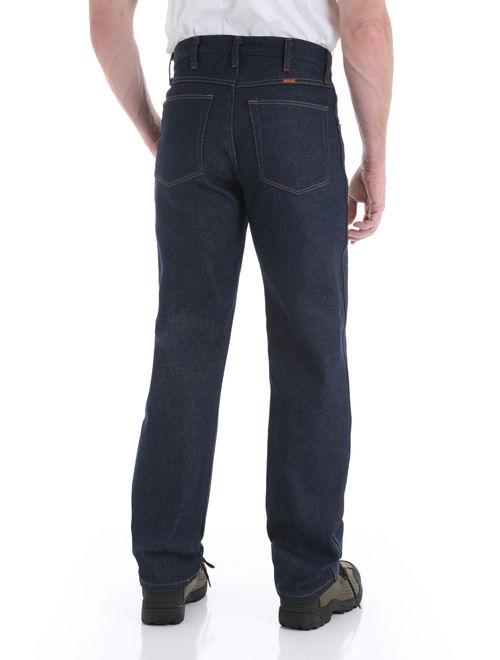 Rustler Wrangler Mens Regular Fit Straight Leg Dark Blue Heavyweight Denim Jeans