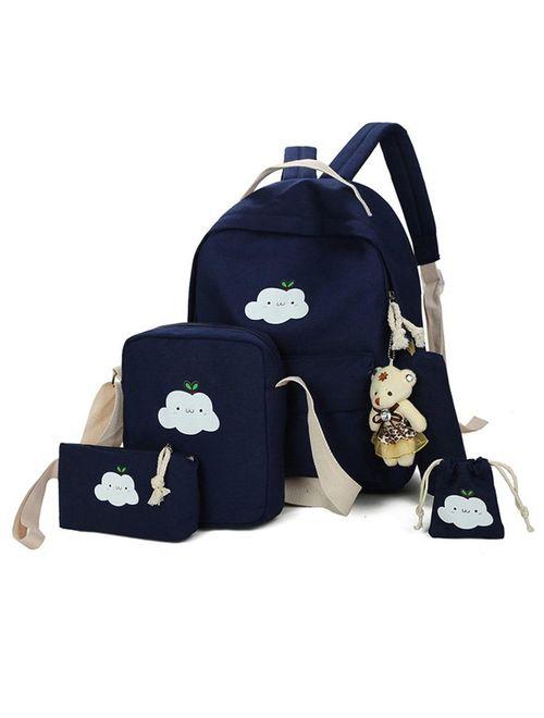 Topcobe 5 Pcs/Sets Canvas Backpacks for Teenage Girls, Black Classic Canvas School Backpack for Kids, 1 Backpacks+1 Shoulder Bag+1 Handbag+1 Pencil Bag+1 wallet for Schoo