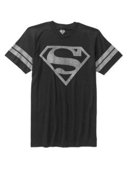 Men's Superman Logo Short Sleeve Distressed Stripe Sleeve Tee
