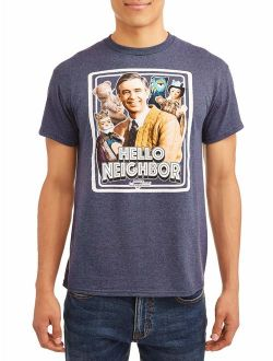 """Mr. Rogers Men's """"Hello Neighbor"""" Short Sleeve Graphic T-Shirt, up to Size 3XL"""