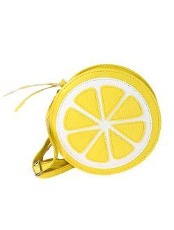 Fashion Culture Squirt Lemon Slice Crossbody, Yellow