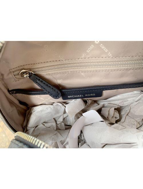 Michael Kors Abbey Medium Backpack Admiral Blue MK Signature Flower School Bag