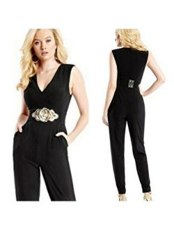 Uess By Marciano Black Kelsi Jumpsuit With Belt Size 8