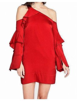 Rachel Roy Womens Ruffled One-Shoulder A-line Dress