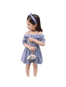 Summer Baby Girls Off-shoulder Stripe Dress Casual Sundress with Headband 2-7Y