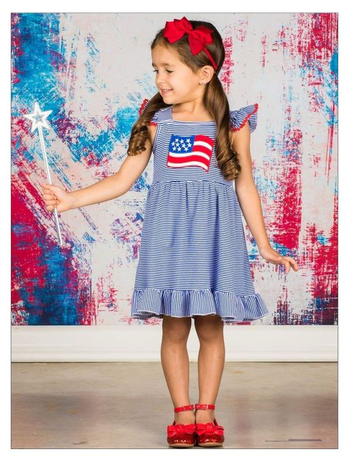 Girls 4th of July Flutter Sleeve Striped American Flag Dress, Size: XS-2T