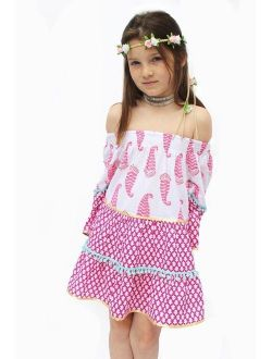 Girls White Boho Chic Pom-pom Adorned Long Sleeved Dress 12/14