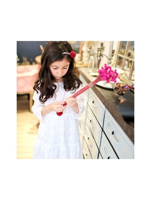 Little Girls White Embroidered Cotton Bell Sleeve Scoop Neck Dress