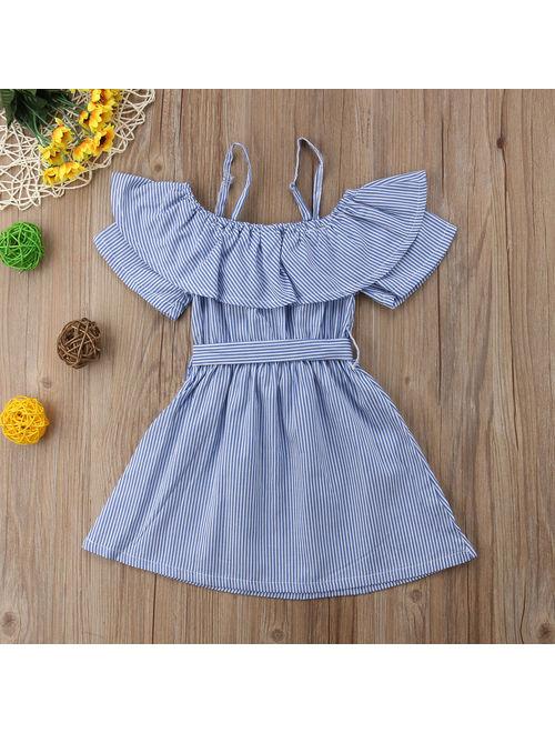 Summer Baby Kids Girls Off-shoulder Dress Toddler Princess Party Tutu Dress Striped Casual Dress Sundress Clothes