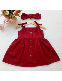 Summer Toddler Baby Girls Party Dress Sleveless Sundress Clothes 1-2Y Red