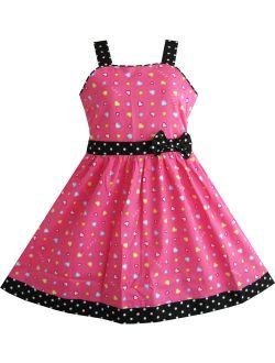 Girls Dress Heart Print Pink Christmas Size 4-12
