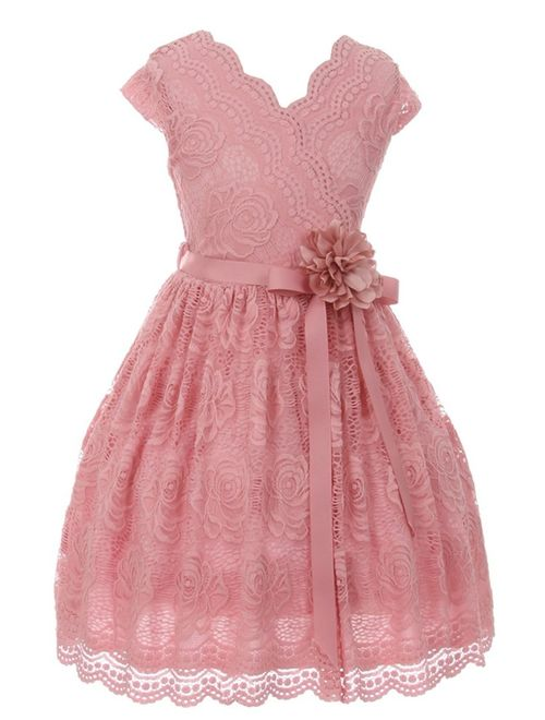Girls Rose Flower Border Stretch Lace Stylish Special Occasion Dress