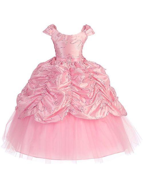 Girls Pink Cinderella Embroidered Pageant Dress 8-12