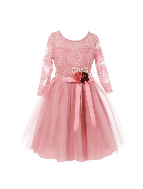 Girls Pink Rose Floral Lace Long Sleeve Mesh Flower Girl Dress