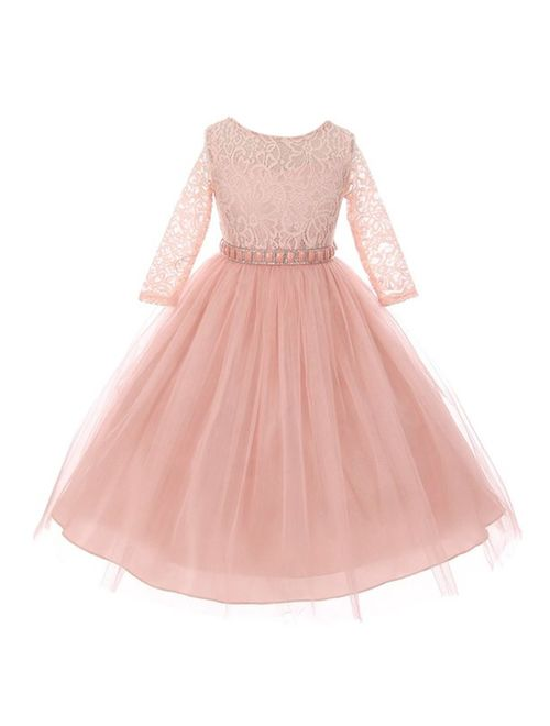 Girls Blush Floral Lace Rhinestone Waist Tulle Junior Bridesmaid Dress