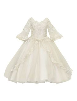 Calla Collection Girls Champagne Floor Length Flower Girl Dress