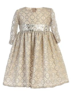 Little Girls Champagne Lace Sequined Waistband Christmas Dress 2T-6