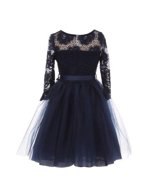 Girls Navy Floral Lace Long Sleeve Mesh Overlay Flower Girl Dress