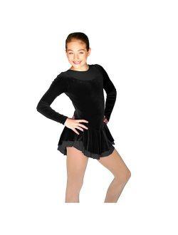Chloe Noel Little Girls Size 4/6 Black Velvet Long Sleeve Skate Dress