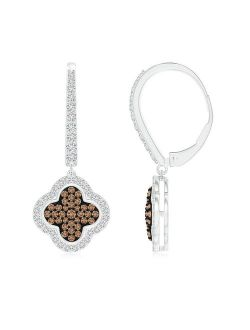 Coffee Diamond Cluster Clover Earrings with Halo in Platinum (1.5mm Coffee Diamond)-SE1487BRDD-PT-AAA-1.5