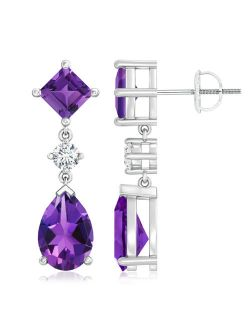 Square and Pear Amethyst Drop Earrings with Diamond in 14K White Gold (10x7mm Amethyst) - SE0262AMD-WG-AAAA-10x7