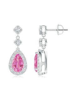 September Birthstone Earrings - Pear Pink Sapphire Drop Earrings with Diamond Halo in 14K White Gold (8x5mm Pink Sapphire) - SE1163PSD-WG-AA-8x5