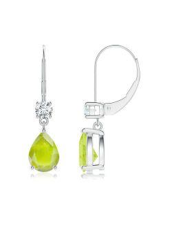 August Birthstone Earrings - Pear Peridot Leverback Drop Earrings with Diamond in 14K White Gold (8x6mm Peridot) - SE0966PD-WG-A-8x6