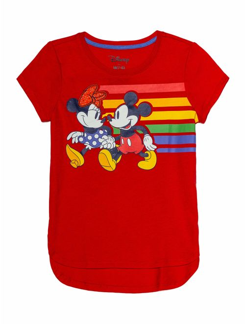 Disney Minnie Mouse & Mickey Mouse Rainbow Studded Graphic T-Shirt (Little Girls & Big Girls)