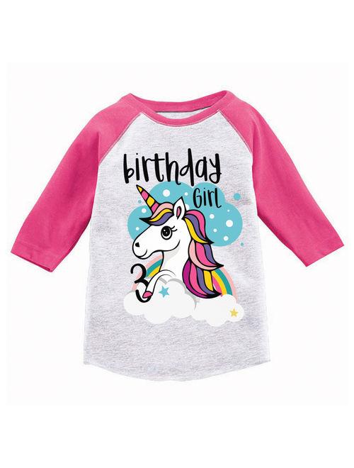 Awkward Styles Birthday Girl Toddler Raglan Unicorn Jersey Shirt 3rd Birthday Unicorn Gifts for 3 Year Old Girl Cute Rainbow Unicorn Outfit 3rd Birthday Party for Girls U