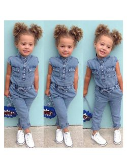 Summer Toddler Baby Kids Girls Denim Blue Romper Bodysuit Jumpsuit Outfits Clothes Casual One-piece